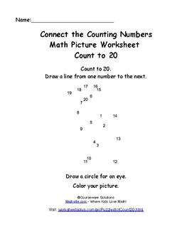 First Grade Math Mystery Pictures: Connect the Counting Numbers Worksheets