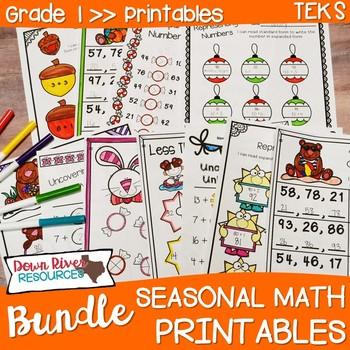 First Grade Math No Prep Printables Seasonal Yearlong Bundle {TEKS/CCSS}