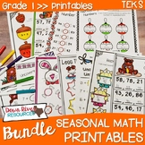 First Grade Math No Prep Printables Seasonal Yearlong Bund