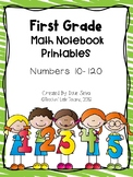 First Grade Math Notebook Printables Numbers 10-120