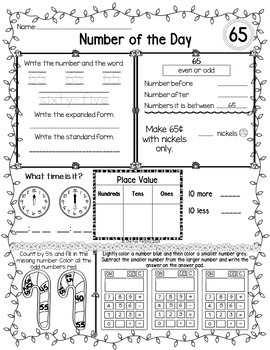 First Grade Math, Number of the Day~Common Core & TEKS~Dec.~ No Prep, Just Print