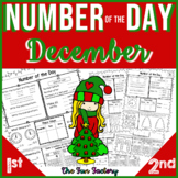 1st Grade Math Number of the Day Common Core and TEKS Dec. PRINT AND GO