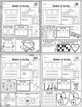 First Grade Math Number of the Day |Common Core & TEKS| Feb. NO PREP, JUST PRINT