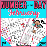 First Grade Math Number of the Day Activities February NO PREP