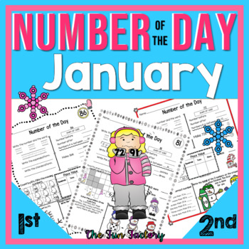 First Grade Math, Number of the Day~Common Core & TEKS~Jan.~ No Prep, Just Print