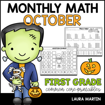 October Math Worksheets - First Grade