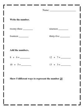 First Grade Math Packet