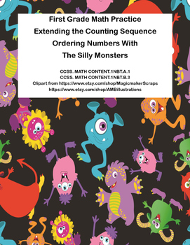First Grade Math Practice-Counting and Ordering Numbers With The Silly Monsters