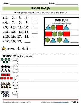First Grade Math Practice - Shapes and Counting - Beginning of Year