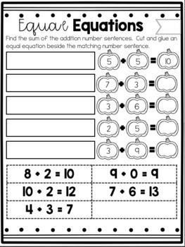 First Grade Fall Math Printables: Balancing Equations and true/false equations