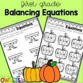 First Grade Fall Math Printables: Balancing Equations and