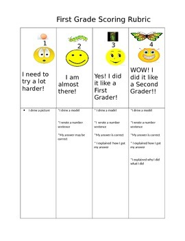 First Grade Math Problem  Rubric
