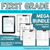 First Grade Math, Reading, & Language Assessments MEGA BUNDLE