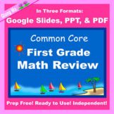 First Grade Math Review Google Slides and PDF for Distance