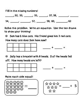 First Grade Math Review Packet