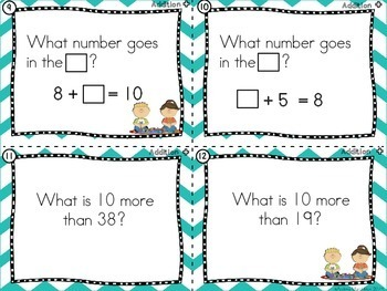 First Grade Math Review Task Cards