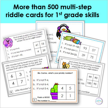 First Grade Math Riddle Task Card Bundle