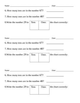 First Grade Math Warm Up Part 1