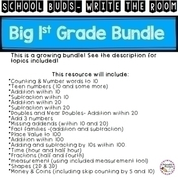 First Grade Math- Solve and Write the Room Big Bundle