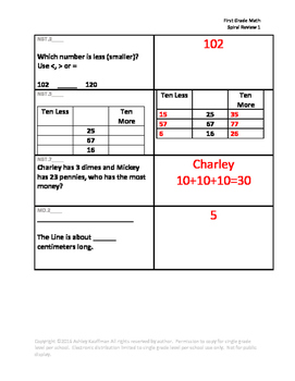 First Grade Math Spiral Review 1
