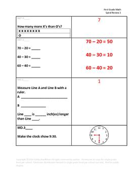 First Grade Math Spiral Review 2