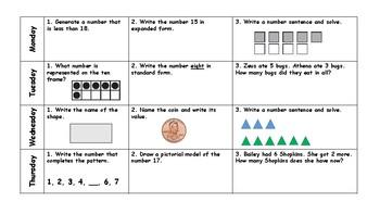First Grade Math Spiral Review