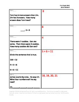 First Grade Math Spiral Review 4