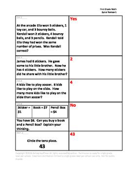 First Grade Math Spiral Review 5