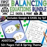 First Grade Math Spring Balancing Equations-Addition 1.OA.3, 1.OA 6