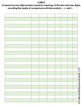 First Grade Math Standards Grade Book