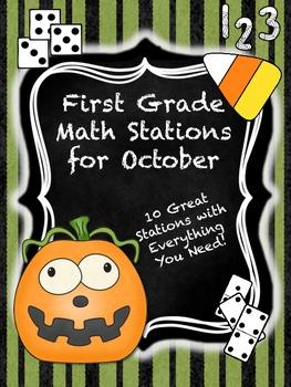 First Grade Math Stations for October with BONUS October Calendar Pieces