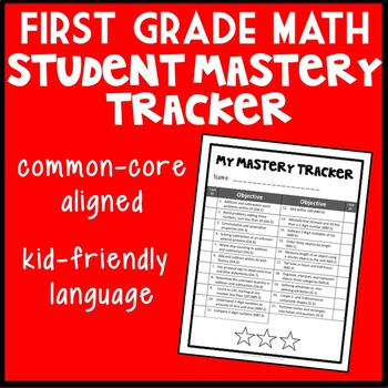 First Grade Math Student Mastery Tracker, Self-Tracker, Parent Mastery Tracker