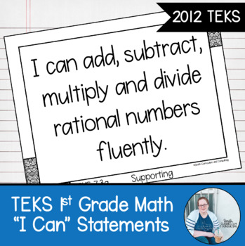 "First Grade Math TEKS ""I Can"" Statements"