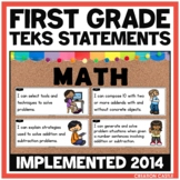 First Grade Math TEKS Can and Will Standards Statements