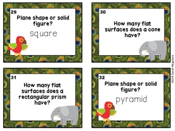 First Grade Math Task Cards (Jungle Theme): Geometry & Data Analysis