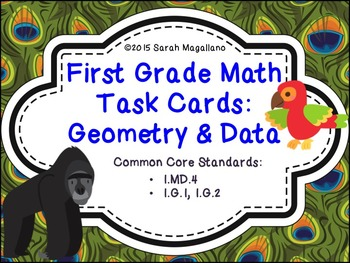 First Grade Math Task Cards (Jungle Theme): Geometry & Dat