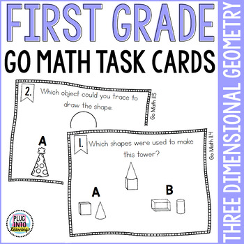 First Grade Math Task Cards: Three Dimensional Geometry
