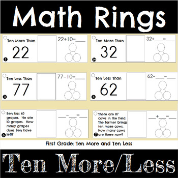 First Grade Math Ten More and Ten Less