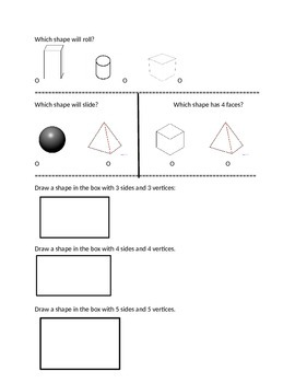First Grade Math Test on 2D and 3D Shapes