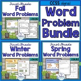First Grade Math Seasonal Word Problems CCSS 1.OA.1 1.OA.2