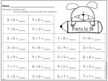First Grade Math, Topic 3 - Addition Facts to 20 - Strategies | TpT