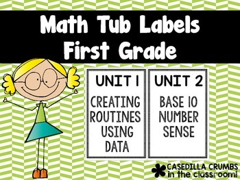 First Grade Math Tub Labels by Unit Georgia Common Core