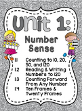 First Grade Math Unit 1: Number Sense, Counting Forward, Ten Frames (and more!)