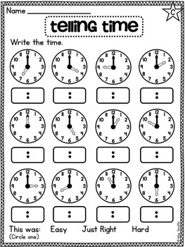 First Grade Math Unit 15 Telling Time