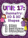 First Grade Math Unit 17 Geometry 2D Shapes and 3D Shapes Attributes & Composing