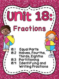 First Grade Math Unit 18 Fractions (Great for Distance Learning too!)