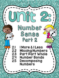 First Grade Math Unit 2: Number Sense, Part Part Whole, Number Bonds, and more!