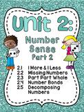 First Grade Math Unit 2: Number Sense, Part Part Whole, Number Bonds, and more!