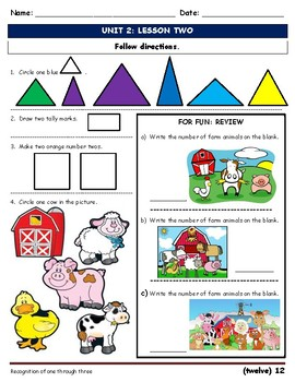 First Grade Math Unit: 2 - Number Words and Colors