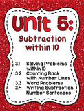 First Grade Math Unit 5 Subtraction within 10 Activities, Word Problems, & more!